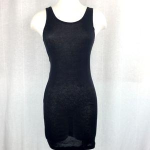 Lost & Found Semi Sheer Tank Dress Black Bodycon